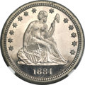 Proof Seated Quarters, 1884 25C PR66 Cameo NGC. CAC....