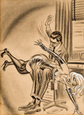Pin-up and Glamour Art, BILL WARD (American, 1919-1998). A Spanking. Charcoal onpaper laid on board. 23 x 17.5 in.. Not signed. ...