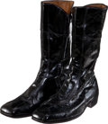 Music Memorabilia:Costumes, Elvis Presley Owned and Stage Worn Black Leather Boots (Verde, c.1975)....