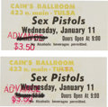 Music Memorabilia:Tickets, Sex Pistols Cain's Ballroom Tulsa Ticket Group (1978).... (Total: 2Items)