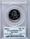 Proof Statehood Quarters: , 2000-S 25C Maryland Clad PR69 Deep Cameo PCGS. PCGS Population(4485/188). Numismedia Wsl. Price for pr...