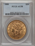 Liberty Double Eagles: , 1880 $20 AU58 PCGS. PCGS Population (35/27). NGC Census: (116/52).Mintage: 51,456. Numismedia Wsl. Price for problem free ...