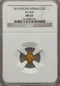 California Fractional Gold: , 1874 25C Indian Round 25 Cents, BG-876, Low R.4, MS63 NGC. NGCCensus: (3/2). PCGS Population (24/54). (#10737)...