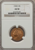 Indian Half Eagles: , 1908-S $5 AU58 NGC. NGC Census: (109/235). PCGS Population(55/259). Mintage: 82,000. Numismedia Wsl. Price for problem fre...