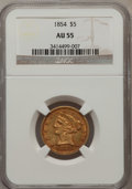 Liberty Half Eagles: , 1854 $5 AU55 NGC. NGC Census: (64/213). PCGS Population (18/62).Mintage: 160,675. Numismedia Wsl. Price for problem free N...