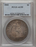 Seated Dollars: , 1842 $1 AU55 PCGS. PCGS Population (60/112). NGC Census: (71/146).Mintage: 184,618. Numismedia Wsl. Price for problem free...