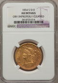 Liberty Eagles, 1854-S $10 -- Obverse Improperly Cleaned -- NGC Details. AU. NGCCensus: (69/197). PCGS Population (55/57). Mintage: 123,82...