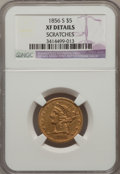 Liberty Half Eagles: , 1856-S $5 -- Scratched -- NGC Details. XF. NGC Census: (14/107).PCGS Population (14/81). Mintage: 105,100. Numismedia Wsl....
