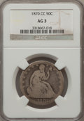 Seated Half Dollars: , 1870-CC 50C AG3 NGC. NGC Census: (0/40). PCGS Population (1/115).Mintage: 54,617. Numismedia Wsl. Price for problem free N...