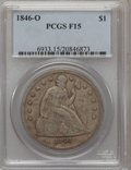 Seated Dollars: , 1846-O $1 Fine 15 PCGS. PCGS Population (3/210). NGC Census:(1/136). Mintage: 59,000. Numismedia Wsl. Price for problem fr...