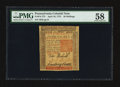 Colonial Notes:Pennsylvania, Pennsylvania April 10, 1775 50s PMG Choice About Unc 58.. ...