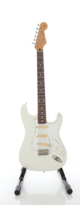 Musical Instruments:Electric Guitars, Circa 1990 Fender Squire Stratocaster MIJ Waynes World White SolidBody Electric Guitar, Serial #M009140....
