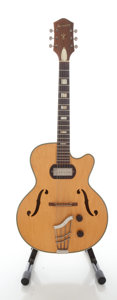 Musical Instruments:Electric Guitars, Late 1950's Harmony H65 Natural Semi-Hollow Body Electric Guitar...