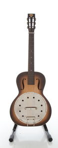Musical Instruments:Acoustic Guitars, Mid 1930's Dobro Angelus No. 19 Walnut Burst Resonator Guitar....