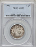 Barber Quarters: , 1905 25C AU55 PCGS. PCGS Population (15/140). NGC Census: (7/118).Mintage: 4,968,250. Numismedia Wsl. Price for problem fr...