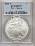 Modern Bullion Coins, 2008-W $1 Silver Eagle MS70 PCGS. PCGS Population (1777). NGCCensus: (19171). The image displayed is a stock photo of an...