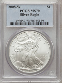 2008-W $1 Silver Eagle, Burnished MS70 PCGS. PCGS Population: (3772). NGC Census: (22537). Mintage 533,757....(PCGS# 393...