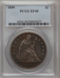 Seated Dollars: , 1849 $1 XF40 PCGS. PCGS Population (32/256). NGC Census: (6/225).Mintage: 62,600. Numismedia Wsl. Price for problem free N...