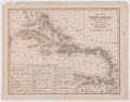 Books:Maps & Atlases, Wonderful Engraved and Hand-Colored Map of the West Indies. From Mitchell's New Intermediate Geography. [Philadelphia: B...