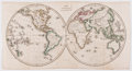 Books:Maps & Atlases, J. C. Russell. Striking Engraved World Map with Hand-Coloring. [London: ca. 1820]. Measures 8.5 x 15.75 inches. Four fold li...