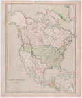 Books:Maps & Atlases, [Maps]. North America. [London]: Chapman & Hall, 1843. A handsome hand-colored map of North America. Some toning, a ...