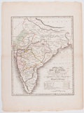 Books:Prints & Leaves, 1821 Hand-Colored Military Map of India....
