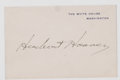 Autographs:U.S. Presidents, Herbert Hoover Signature on White House Card.. ...