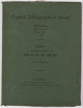 Books:Books about Books, John Horden. A Bibliography of Francis Quarles. Oxford:Oxford University, 1953. First edition. Quarto. 83 pages. Pu...
