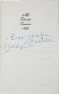 """Baseball Collectibles:Publications, Mickey Mantle """"My Favorite Summer 1956"""" Signed Hardcover Book...."""