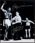"""Boxing Collectibles:Autographs, Jake LaMotta """"Ray Never Went Down"""" Signed Oversized Photograph...."""