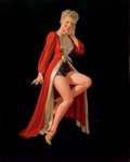 Pin-up and Glamour Art, AL BUELL (American, 1910-1996). Blonde Pin-Up in Red Robe.Acrylic on board. 20.75 x 17 in.. Signed lower right. ...