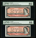 Canadian Currency: , BC-38bT $2 1954. ... (Total: 2 notes)