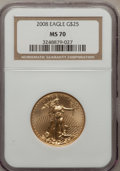 Modern Bullion Coins, 2008 $25 Quarter-Ounce Gold Eagle MS70 NGC. NGC Census: (0). PCGSPopulation (0). (#393100)...