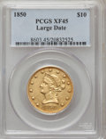 Liberty Eagles: , 1850 $10 Large Date XF45 PCGS. PCGS Population (48/86). NGC Census:(87/231). Mintage: 291,451. Numismedia Wsl. Price for p...