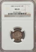 Coins of Hawaii: , 1883 10C Hawaii Ten Cents MS65 NGC. NGC Census: (17/5). PCGSPopulation (19/11). Mintage: 250,000. (#10979)...