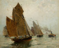 Paintings, JAMES MACDONALD BARNSLEY (Canadian, 1861-1929). Boston Harbor, 1885. Oil on canvas laid on panel . 17 x 21 inches (43.2 ...