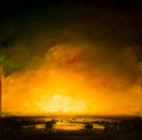 DAVID BIERK (American, 1944-2002) A Eulogy to Earth, Ancient River, Dusk Oil on linen 20 x 20 inc