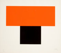 ELLSWORTH KELLY (American, b. 1923) Red Orange Over Black, 1970 Silkscreen print 22-3/4 x 26-1/4