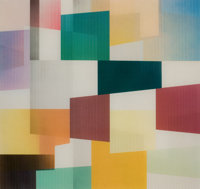 YAACOV AGAM (Israeli, b. 1928) Squares Color screenprint with lenticular plastic screen 13-1/4 x