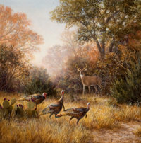 GRANT MACDONALD (b. 1944) Texas Wildlife Acrylic on masonsite 24 x 24 inches (61.0 x 61.0 cm)