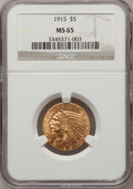 Indian Half Eagles: , 1915 $5 MS65 NGC. NGC Census: (41/0). PCGS Population (41/0).Mintage: 588,075. Numismedia Wsl. Price for problem free NGC/...