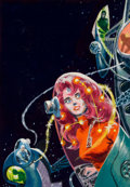 Pulp, Pulp-like, Digests, and Paperback Art, EDWARD (EMSH) EMSHWILLER (American, 1939-1990). Cosmic World,science fiction paperback preliminary cover. Gouache and t...