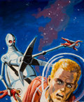 Pulp, Pulp-like, Digests, and Paperback Art, EDWARD (EMSH) EMSHWILLER (American, 1939-1990). Alien Attack,science fiction paperback preliminary cover. Gouache on bo...
