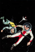 Paintings, ED VALIGURSKY (American, 1926-2009). To the Tromaugh Station, Ace Double D-479 paperback cover. Gouache and tempera on b...