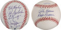 Autographs:Baseballs, Bobby Thomson and Ralph Branca Dual Signed Ball And 69 Mets ReunionBall....