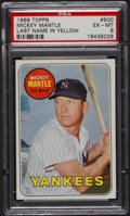 Baseball Cards:Singles (1960-1969), 1969 Topps Mickey Mantle, Yellow Letters #500 PSA EX-MT 6....