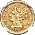 Liberty Quarter Eagles, 1840-C $2 1/2 AU55 NGC. Variety 1....