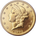 Proof Liberty Double Eagles, 1903 $20 -- Surfaces Smoothed -- Genuine PCGS. Proof....