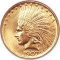 Indian Eagles, 1907 $10 No Periods MS64 NGC....