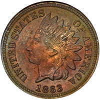 1863 1C One Cent, Judd-299, Pollock-359, Snow-PT1, R.3, PR64 Red and Brown NGC....(PCGS# 70454)